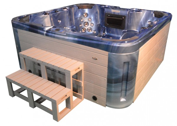 Whirlpool Outdoor Aussenwhirlpool Hot Tub Spa Pool GP7 blau-hellgrau