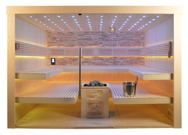 Sauna TS 4066 Bio-Kombiofen, bernsteinfarbener Marmor, 300x250cm
