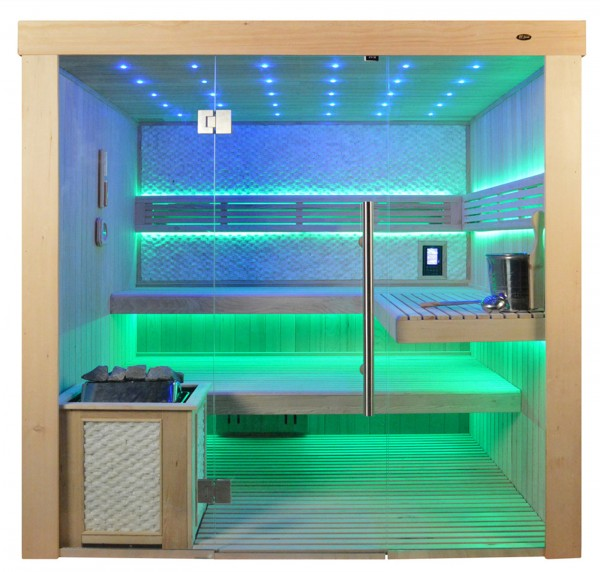 Sauna TS 4062 Bio-Kombiofen, weisser Marmor, 200x180cm