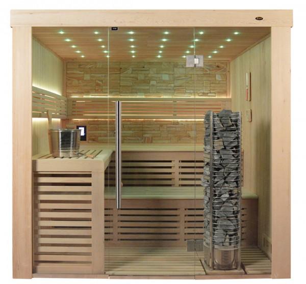 Sauna TS 4021 Steintowerofen, Farbsandgestein, 200x180cm