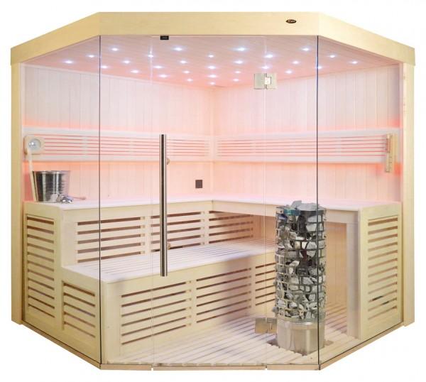 Sauna TS 4014-LS Steintowerofen, weisse Pappel, 200x200cm