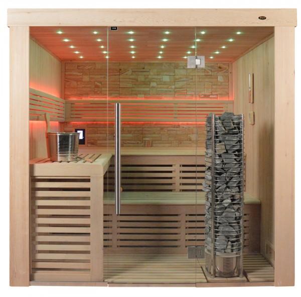 Sauna TS 4022 Steintowerofen, Farbsandgestein, 220x180cm