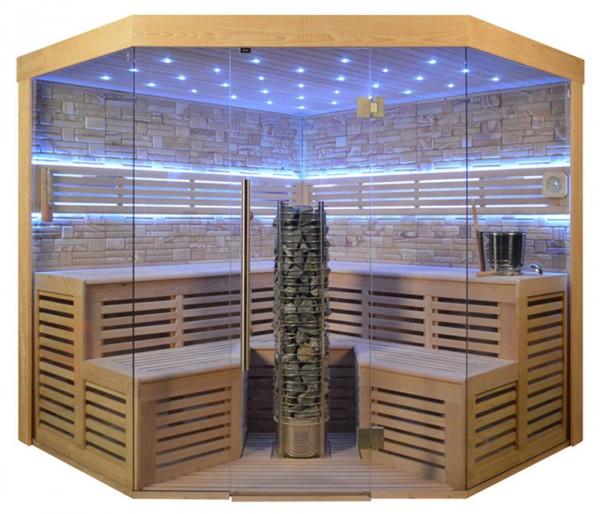 Sauna TS 4025 Steintowerofen, Farbsandgestein, 220x220cm