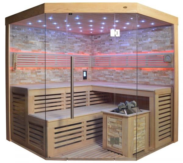 Sauna TS 4024 Bio-Kombiofen, bernsteinfarbener Marmor, 200x200cm