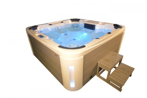 Whirlpool Outdoor Aussenwhirlpool Hot Tub Spa Pool HE- 7 Weiss-Hellgrau