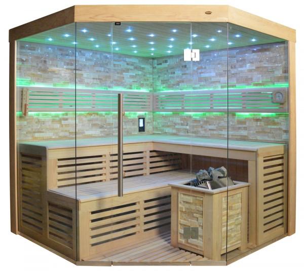 Sauna TS 4023A Bio-Kombiofen, bernsteinfarbener Marmor, 180x180cm