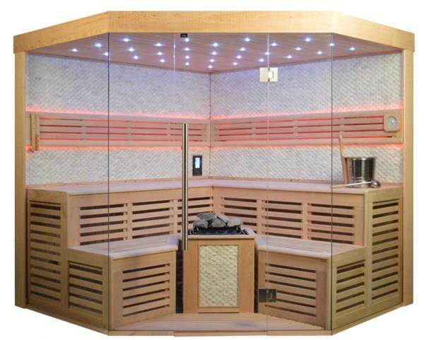 Sauna TS 4025 Bio-Kombiofen, weißer Marmor, 220x220cm