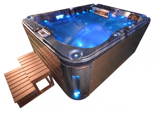 Whirlpool Outdoor Aussenwhirlpool Hot Tub Spa Pool SP 201-100 Blau - Dunkelgrau
