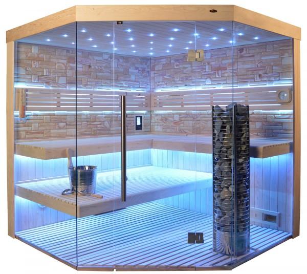 Sauna TS 4064 Steintowerofen, Farbsandgestein, 200x200cm