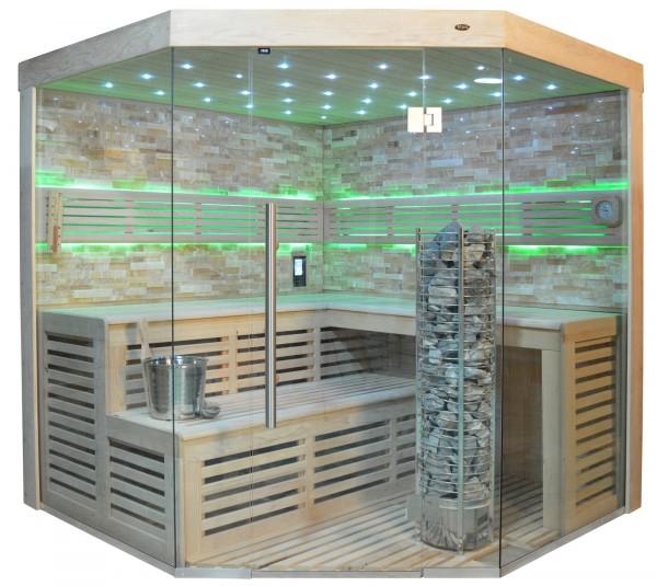 Sauna TS 4024 Steintowerofen, bernsteinfarbener Marmor, 200x200cm