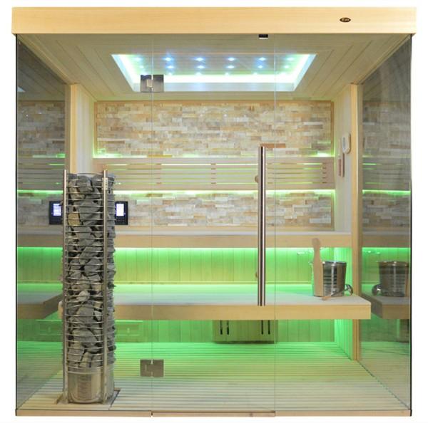 Sauna TS 4058 Steintowerofen, bernsteinfarbener Marmor, 200x180cm
