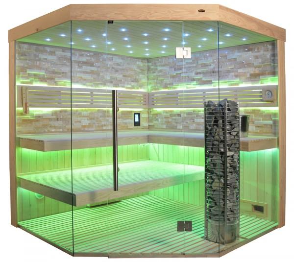 Sauna TS 4064 Steintowerofen, bernsteinfarbener Marmor, 200x200cm