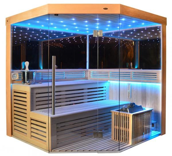 Sauna TS 4013-LM Eco-Ofen, Spiegelwand, 180x180cm