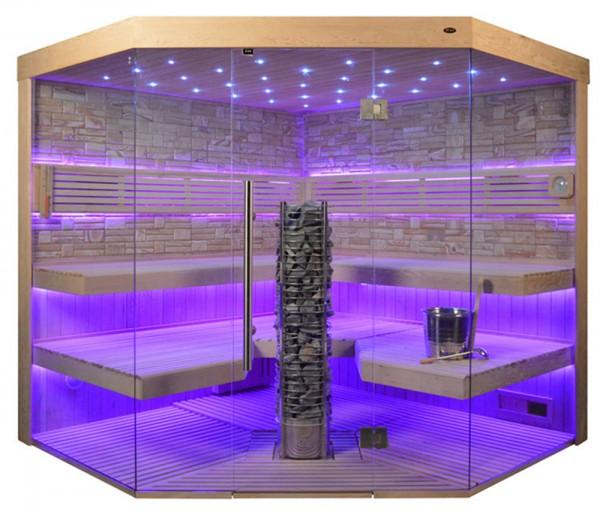 Sauna TS 4065 Steintowerofen, Farbsandgestein, 220x220cm