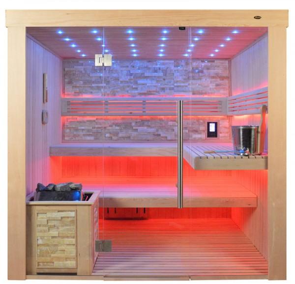 Sauna TS 4062 Bio-Kombiofen, bernsteinfarbener Marmor, 200x180cm