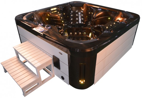 Whirlpool Outdoor Aussenwhirlpool Hot Tub Spa Pool GP4-200 coffee-weiss
