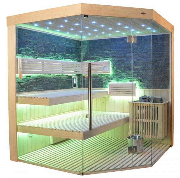 Sauna TS 4063 Bio-Kombiofen, schwarzer Marmor, 180x180cm