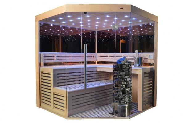 Sauna TS 4013-A-LM Steintowerofen, Spiegelsauna, 180x180cm