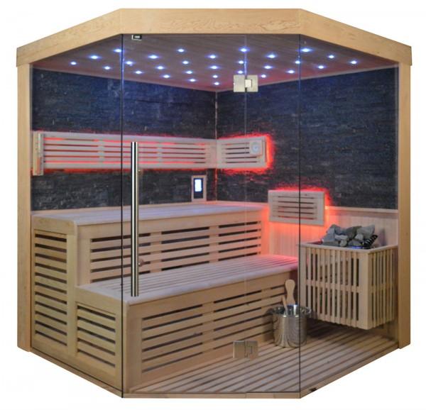 Sauna TS 4023 Bio-Kombiofen, schwarzer Marmor, 180x180cm