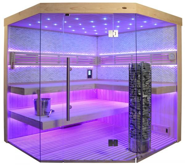 Sauna TS 4064 Steintowerofen, weißer Marmor, 200x200cm