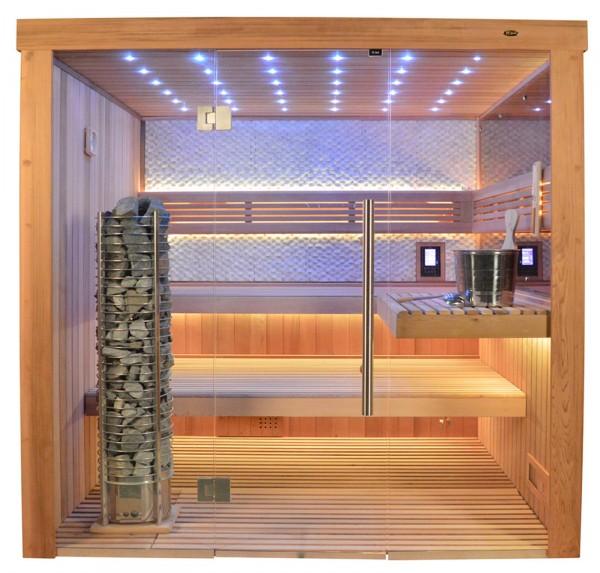 Sauna TS 4062 Steintowerofen, rote Zeder, weisser Marmor, 200x180cm