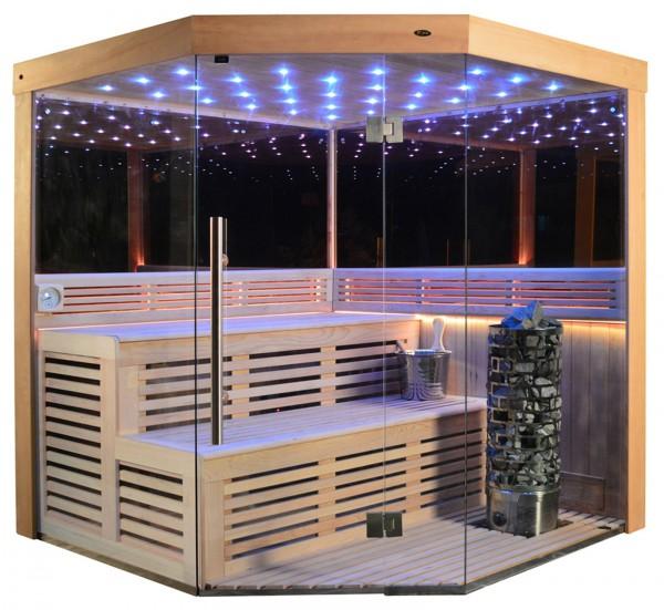Sauna TS 4013-LM Steintowerofen, Spiegelwand, 180x180cm