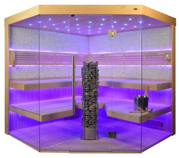 Sauna TS 4065 Steintowerofen, weisser Marmor, 220x220cm