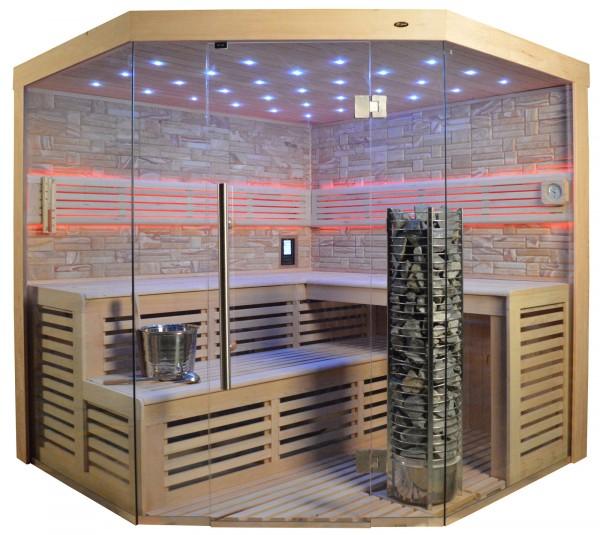 Sauna TS 4024 Steintowerofen, Farbsandgestein, 200x200cm