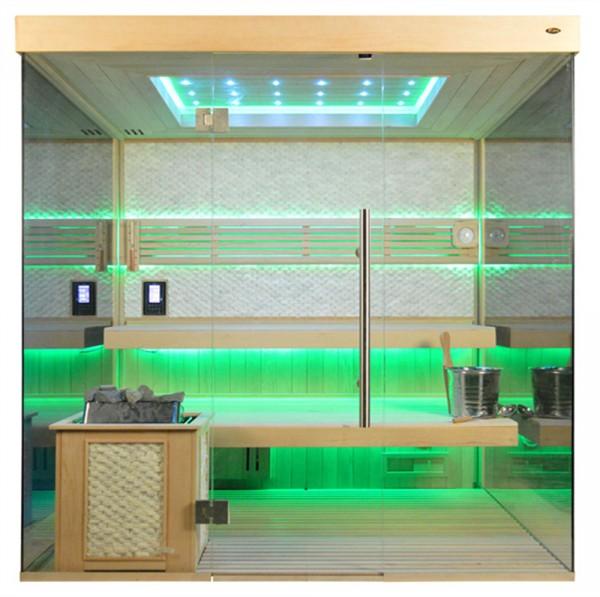 Sauna TS 4057 Bio-Kombiofen, weißer Marmor, 200x180cm