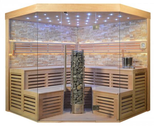 Sauna TS 4025 Steintowerofen, bernsteinfarbener Marmor, 220x220cm