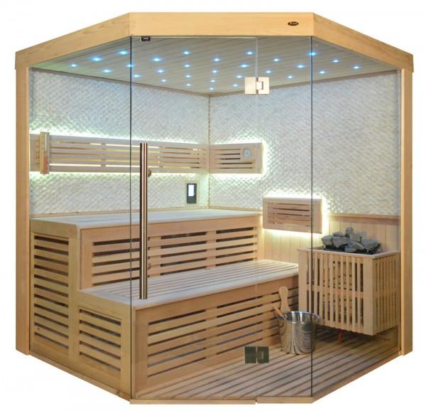 Sauna TS 4023 Bio-Kombiofen, weisser Marmor, 180x180cm