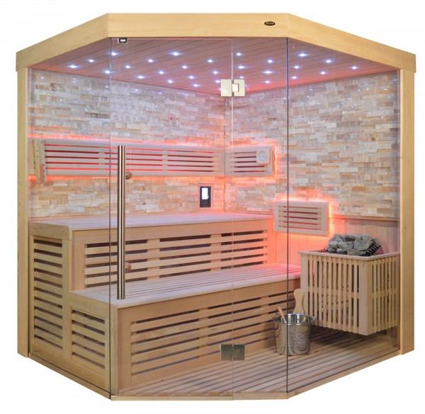 Sauna TS 4023 Bio-Kombiofen, bernsteinfarbener Marmor, 180x180cm