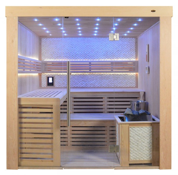 Sauna TS 4021 Bio-Kombiofen, weisser Marmor, 200x180cm