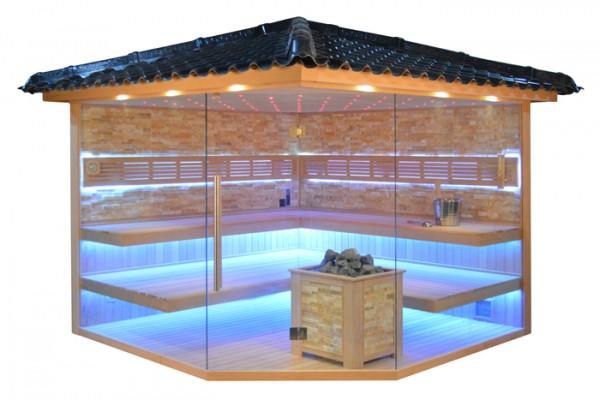 Gartensauna GS4035 Bio-Kombiofen, bersteinfarbener Marmor, 300x300cm