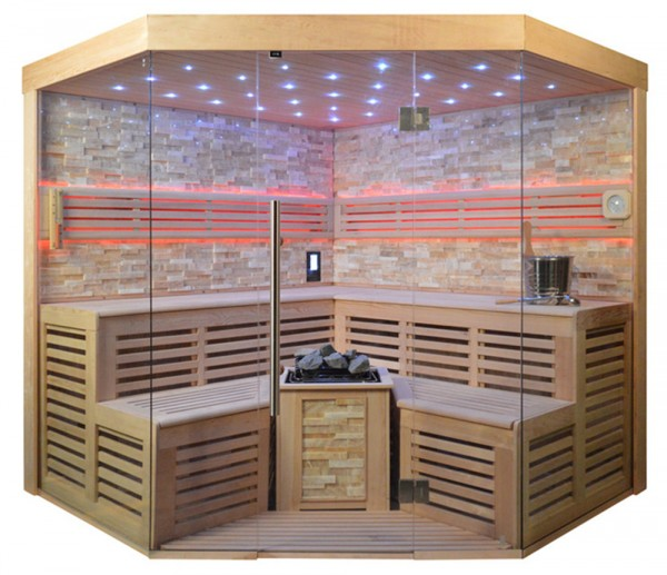 Sauna TS 4025 Bio-Kombiofen, bernsteinfarbener Marmor, 220x220cm