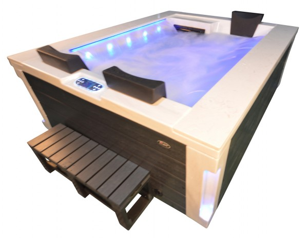 Whirlpool Outdoor Außenwhirlpool Hot Tub Spa Pool FD 121-100 marmorweiß-dunkelgrau