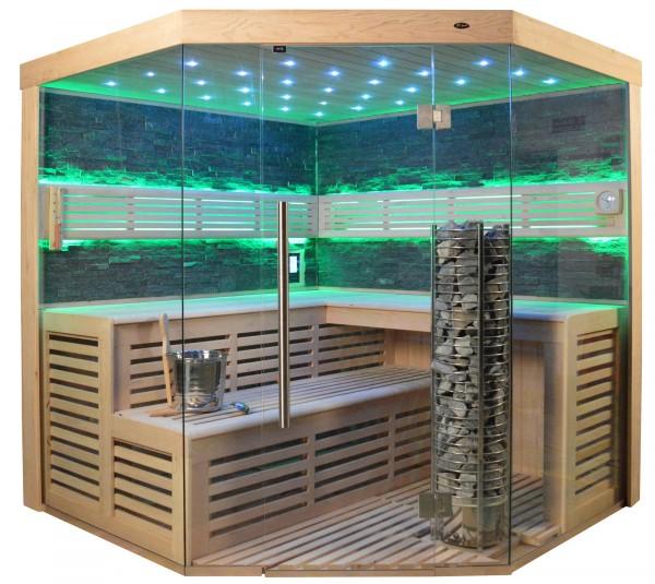 Sauna TS 4023A Steintowerofen, schwarzer Marmor, 180x180cm