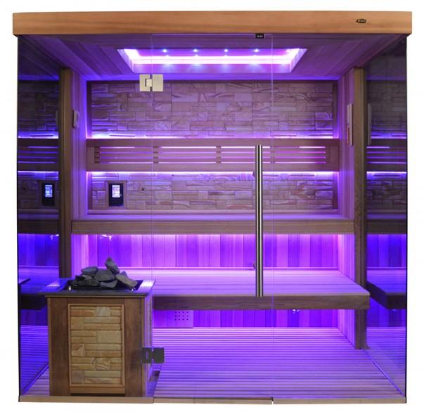 Sauna TS 4058 Bio-Kombiofen, Farbsandgestein, 200x180cm