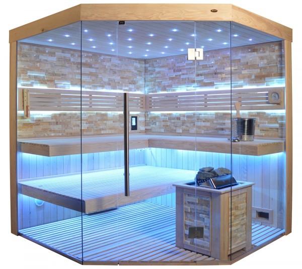 Sauna TS 4064 Bio-Kombiofen, bernsteinfarbener Marmor, 200x200cm