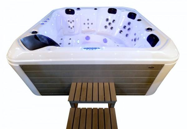 Whirlpool Outdoor Außenwhirlpool Hot Tub Spa Pool HE- 542 weiß-hellgrau