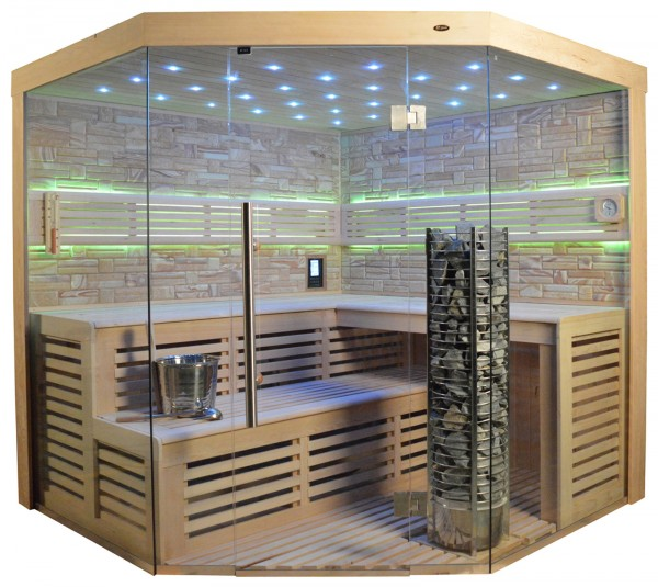 Sauna TS 4023A Steintowerofen, Farbsandgestein, 180x180cm