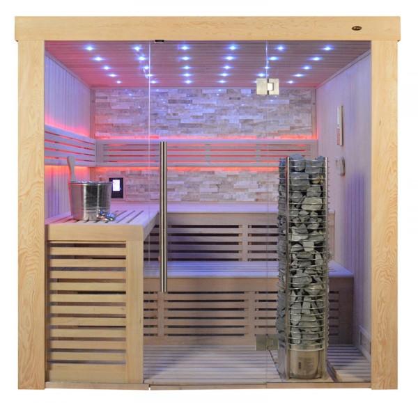 Sauna TS 4021 Steintowerofen, bernsteinfarbener Marmor, 200x180cm