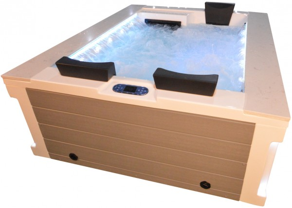 Whirlpool Outdoor Außenwhirlpool Hot Tub Spa Pool FD 121-100 weiß-hellgrau