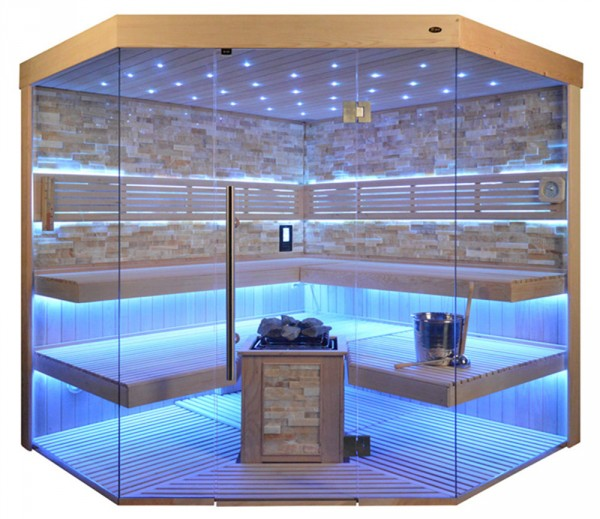 Sauna TS 4065 Bio-Kombiofen, bernsteinfarbener Marmor, 220x220cm