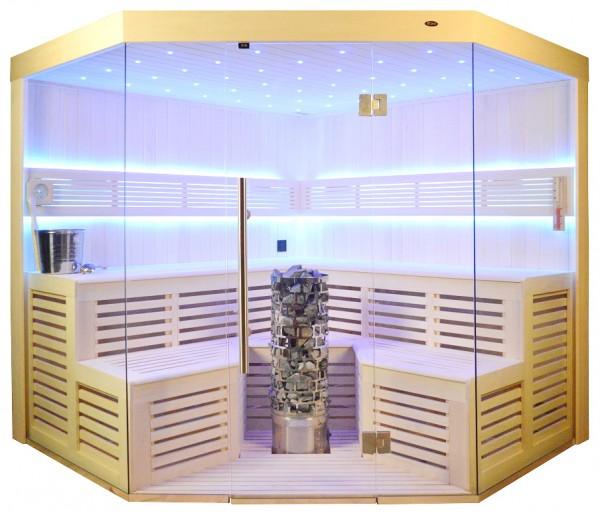 Sauna TS 4015-LS, Steintowerofen, weisse Pappel, 220x220cm