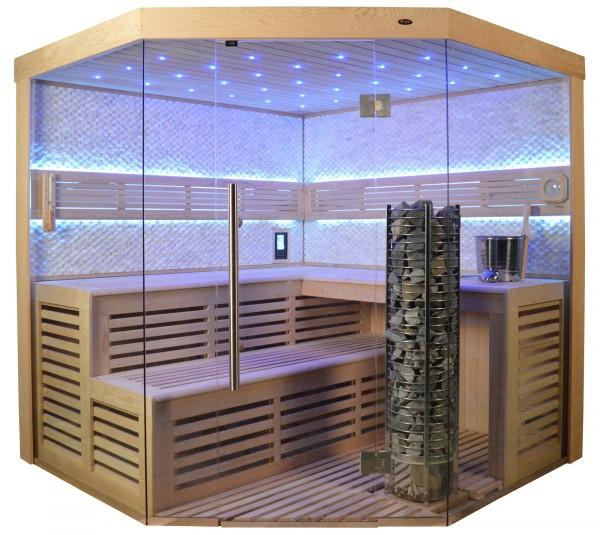 Sauna TS 4023A Steintowerofen, weisser Marmor, 180x180cm