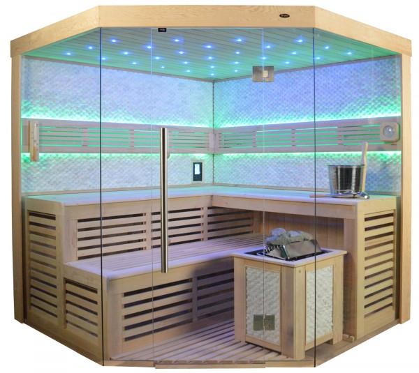 Sauna TS 4023A Bio-Kombiofen, weisser Marmor, 180x180cm