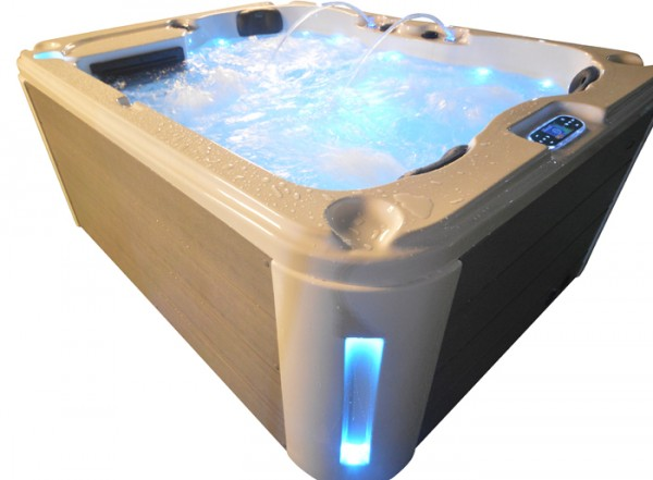 Whirlpool Outdoor Außenwhirlpool Hot Tub Spa Pool HE- 201 weiß-hellgrau