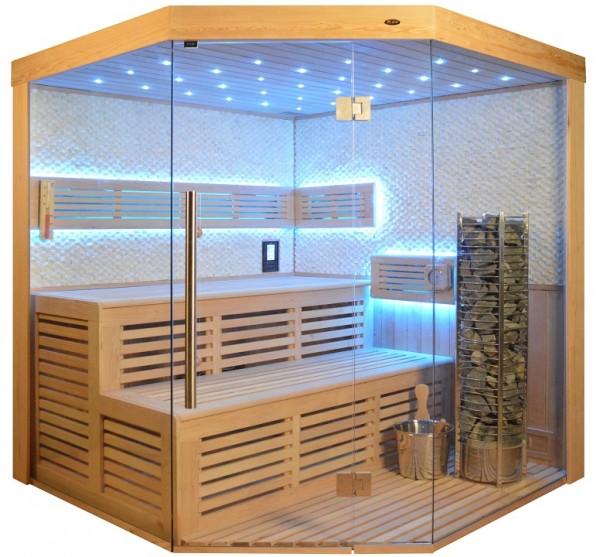 Sauna TS 4023 Steintowerofen, weisser Marmor, 180x180cm