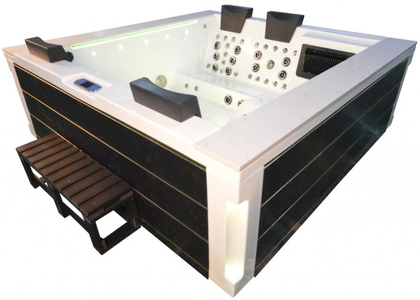Whirlpool Outdoor Aussenwhirlpool Hot Tub Spa Pool FD 241-100 Weiss-Schwarzgold